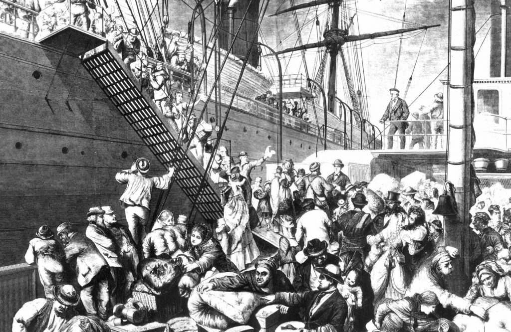 German Immigrants Boarding Steamer to New York