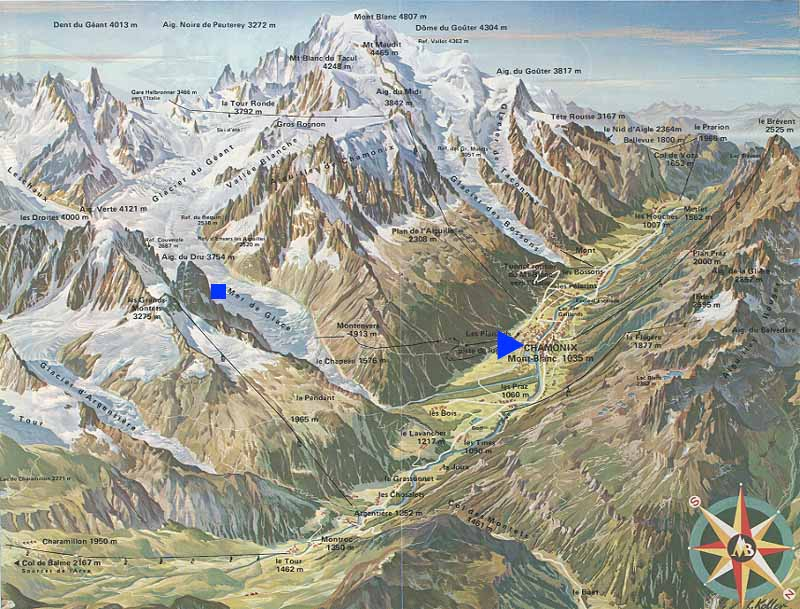 Mont Blanc and Chamonix valley illustration, including Valle Blanche