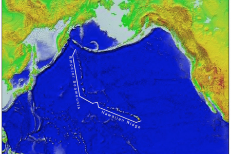 Hawaiian Ridge - Emperor seamount chain consisting of islands, undersea mountains and volcanoes extends across the Pacific Ocean.