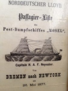 The Mosel passenger list 26 May, 1877