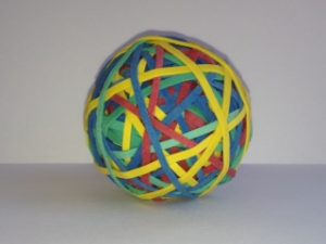 Rubber band balls are the simplest form of rubber band art