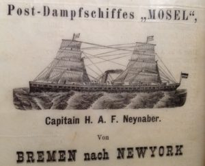 German immigrants board SS Mosel for journey to America