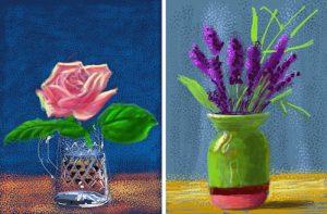 David Hockney's iPad art drawings of flowers