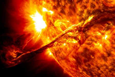 Photo of giant eruption on sun surface in 2012 courtesy of NASA/SDO/AIA/Goddard Space Flight Center, Public Domain