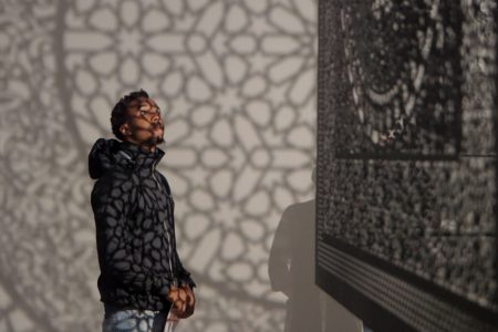 "Still shot of shadows intersecting with space and thought during art exhibition was taken from video documentary ""Intersections"" by Walley Films. Artist Anila Quayyum Agha discusses her creative process and exploration of all human experience."