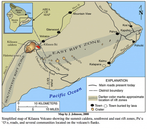 Simplified map of Kilauea volcano, dated 2000, courtesy of USGS, Public Domain