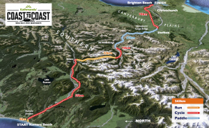 The 2017 Coast to Coast World Multi-Sport Championship race course is 243km of running, cycling, and kayaking through difficult terrain and watercourse