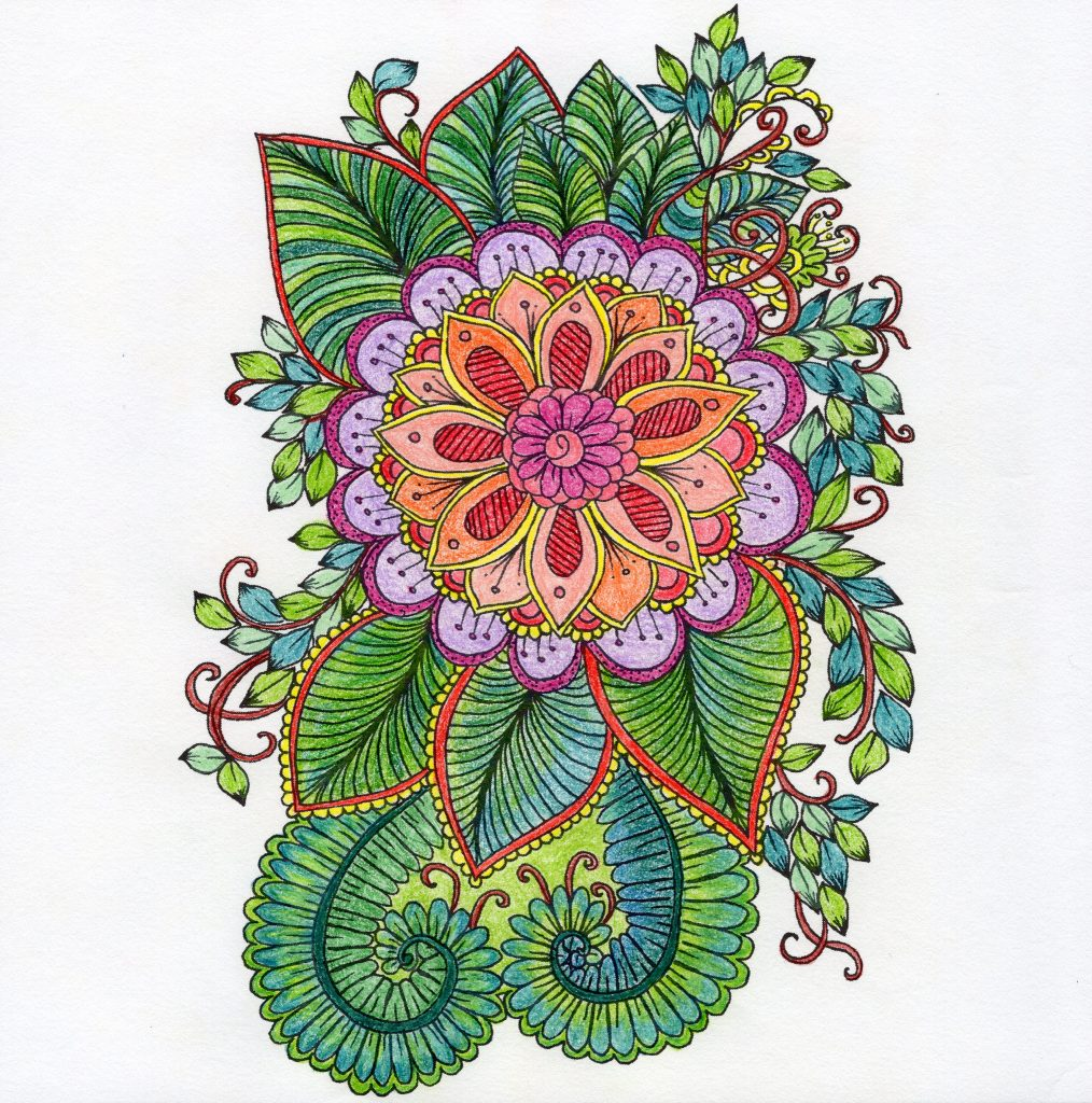 An abstract flower design coloring creation.