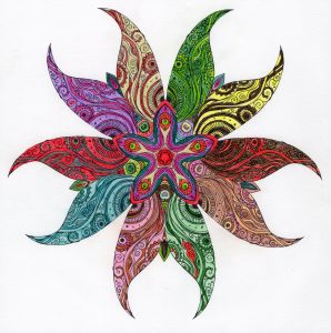 a beautiful abstract created from a coloring book