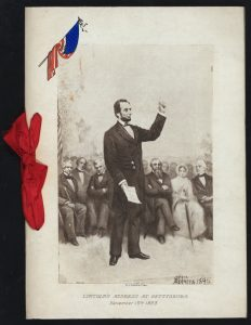 An illustration by S.J Ferris that depicts Lincoln's Address at Gettysburg finds its way on the cover of a banquet menu in 1898.