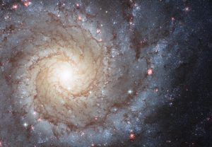 Galaxy M74 is a stunning example of a spiral galaxy with its perfectly symmetrical spiral arms emanating from the central nucleus and are dotted with clusters of young blue stars and glowing pink regions of ionized hydrogen.