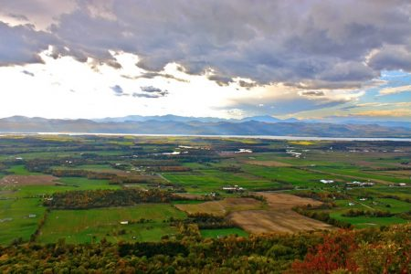 A hike to the top of Snake Mountain is rewarded with expansive views of Lake Champlain Valley and the Adirondack Mountains.