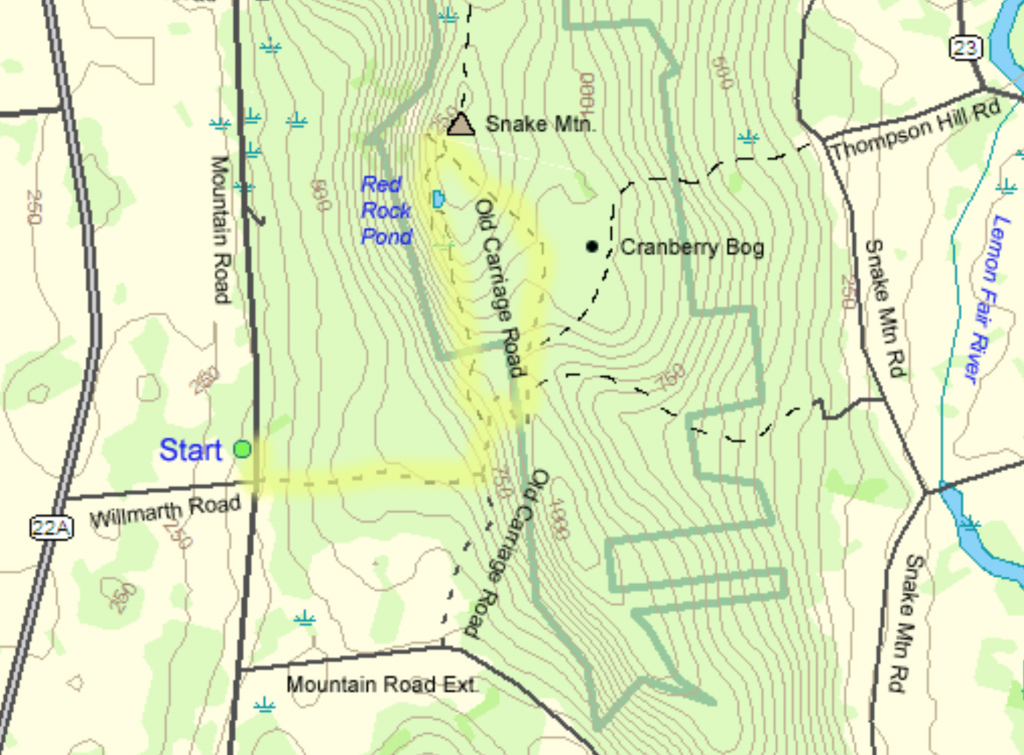 Hike New England's Snake Mountain trail map guide