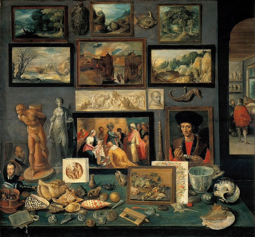 Chamber of Art and Curiosities: A corner of a cabinet of collected art and objects, painted by Frans II Francken in 1636, reveals the range of connoisseurship a Baroque-era virtuoso might evince