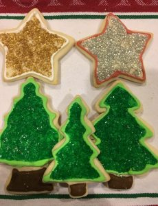 Fun cookie bake project for the holidays -- Cut and bake from basic sugar cookie dough recipe and decorated with royal icing