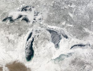 NASA photo of Great Lakes covered in snow and ice shows how brutal surfing the lakes is during the winter months.