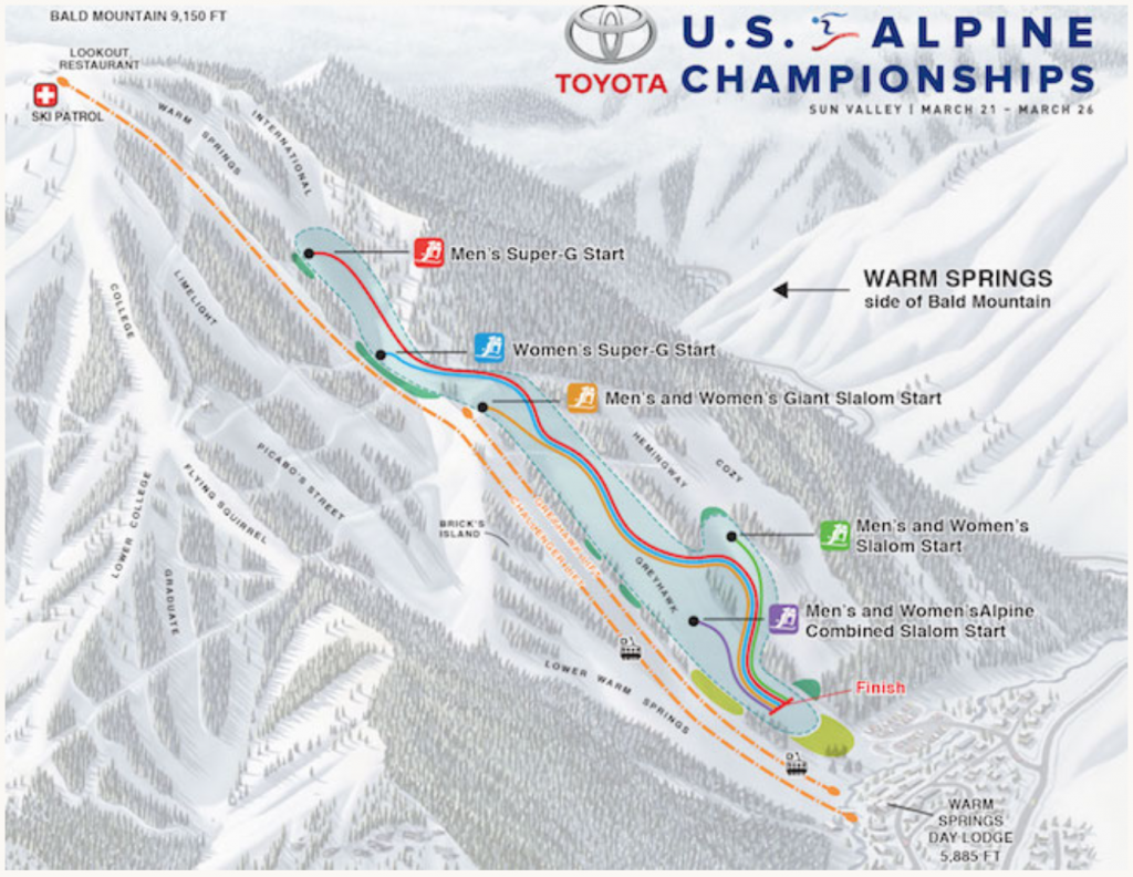 Watch the big and exciting 2018 Alpine Championships live stream broadcast from Sun Valley, Idaho March 23-26